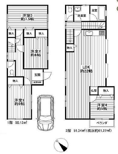 新規内装リフォーム アフターサービス保証付 カースペースあり 全室フローリング 閑静な住宅街(間取)