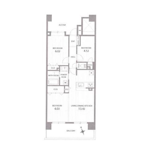 総戸数106戸のビッグコミュニティ13畳床暖房付広々リビングルーム(間取)
