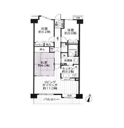 室内クリーニング済 14畳の広々リビングルーム 最寄り駅徒歩3分(間取)