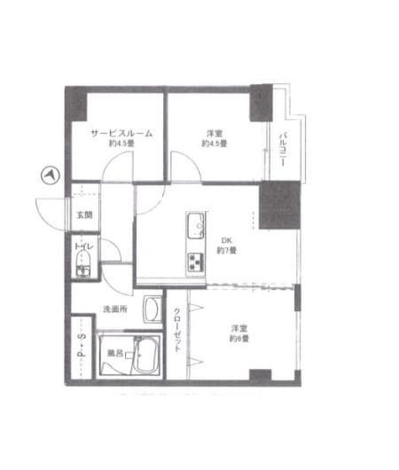 駅徒歩14分 11階角部屋 新規内装リフォーム(間取)