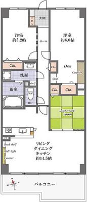総戸数129戸のビッグコミュニティ内装リノベーション済(間取)