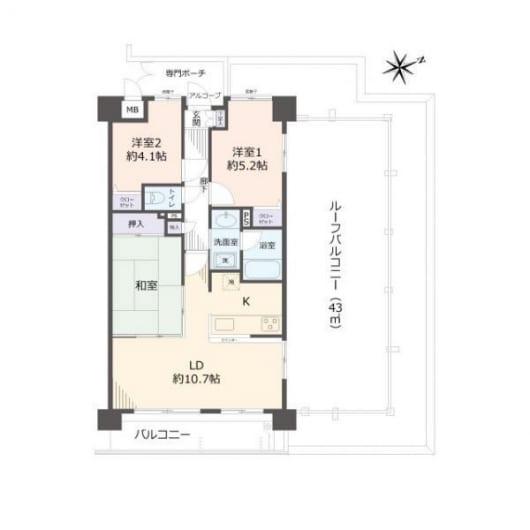 住宅ローン減税適合物件 ルーフバルコニー付き(間取)